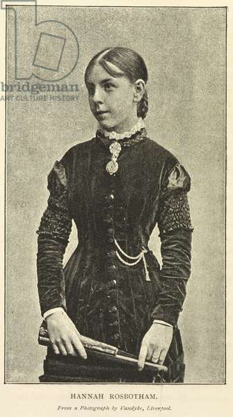 Hannah Rosbotham (1858 - 1935), an assistant schoolmistress who rescued five pupils from a schoolroom, when a severe storm struck the town of Sutton, St.Helens, England, on the 14th October, 1881. Queen Victoria conferred the Albert Medal on Hannah Rosbotham, who was the first female recipient of the award at that time.