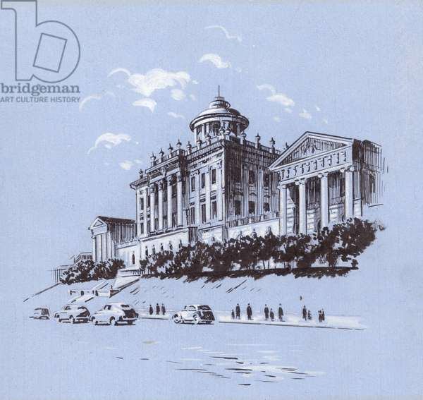 Paschkov's Palace, 1948 (indian ink & gouache on paper)
