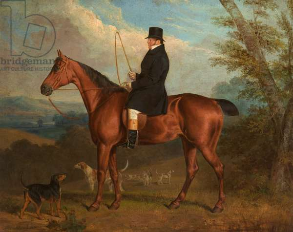 The Reverend W. Parker on a Bay Hunter with Hounds (board)
