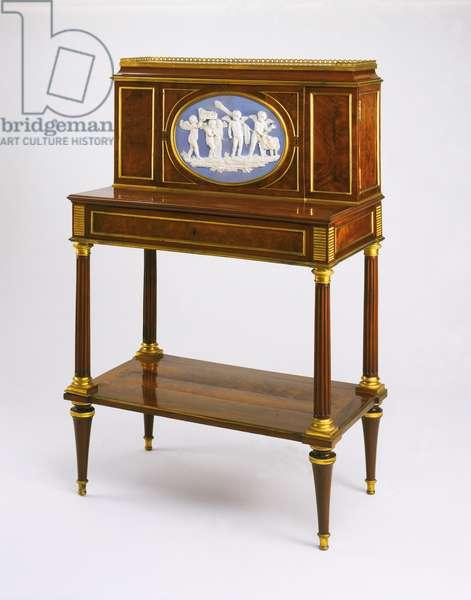 Writing Desk, c.1785 (mahogany veneer, gilded bronze mounts, stoneware plaque & marble top)