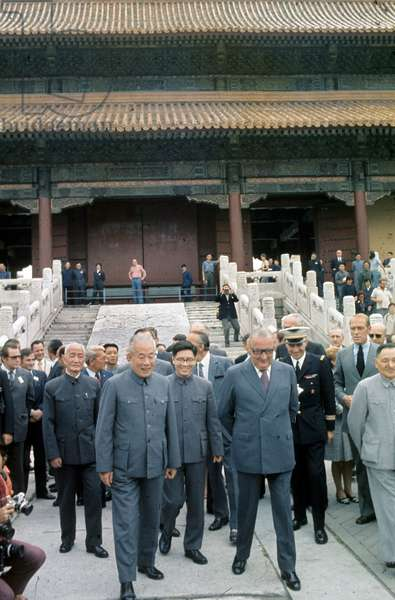 French President Georges Pompidou during his Travel in China in September 1973 : L-R : Dong Biwu, ?, Pompidou, Deng Xiao Ping (photo)