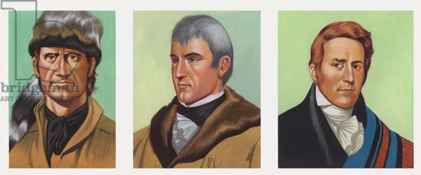 Daniel Boone (left), Meriwether Lewis (middle), and William Clarke (right) (gouache on paper)