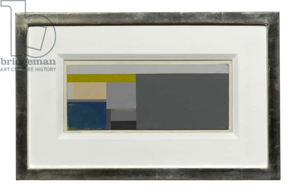 Untitled, blue and grey and yellow, late 1970s (alkyd on panel)