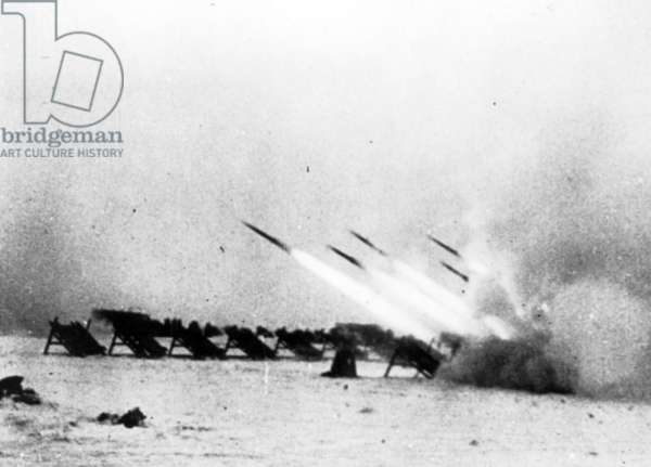 The Beginning of the End for the Germans at Stalingrad Was Launched by this Group of Rocket Launchers Shown in 'Victory at Stalingrad', the Soviet Film of the his toric Battle.