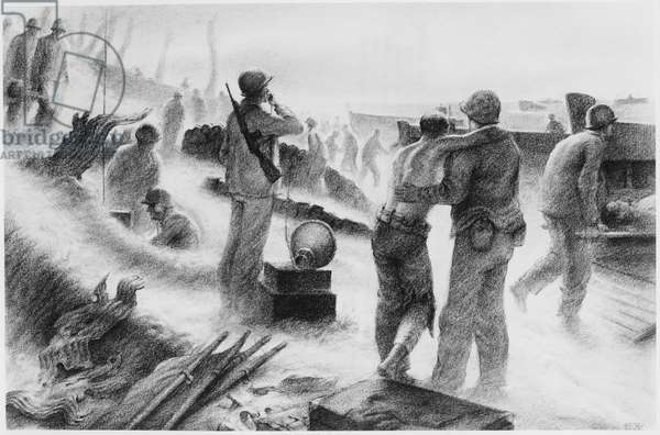 Wounded US Marines Being Escorted from Engebi Island to Land Craft for Transfer to Sick Bay for Treatment, Illustration, 1944