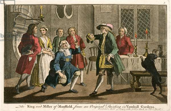 The King and Miller of Mansfield, from an original painting in Vauxhall Gardens (coloured engraving)