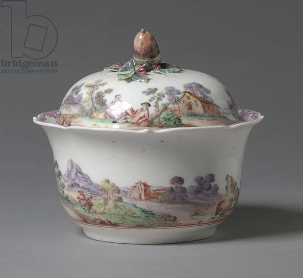 Sugar Bowl, manufactured Vincennes Factory, France, 1745-1748 (soft-paste porcelain with enamel decoration)