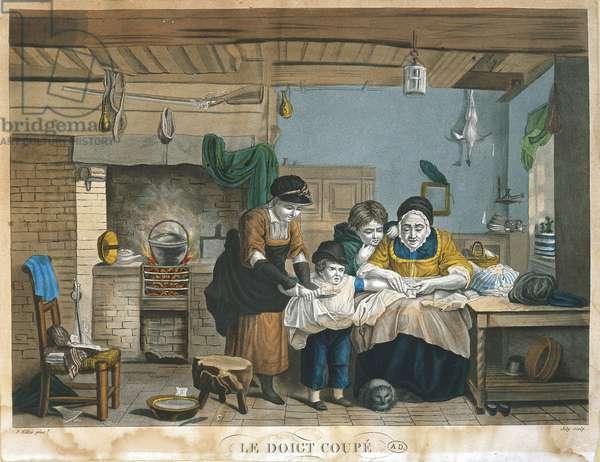 Domestic indoor scene: cut finger by David Wilkie, print