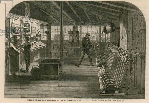 Interior of the A, B, Signal box of the South-Eastern Railway at the London Bridge station (engraving)