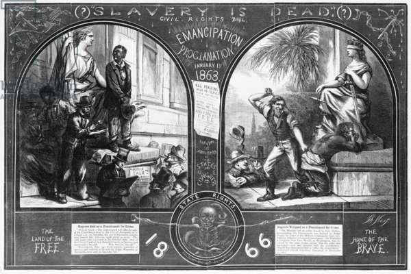 Slavery, two illustrations showing a slave being sold as punishment for crime, before the Emancipation Proclamation, and an African-American being whipped as punishment for crime in 1866, original title: 'Slavery Is Dead?', from Harper's Weekly, engraving by Thomas Nast, 1867