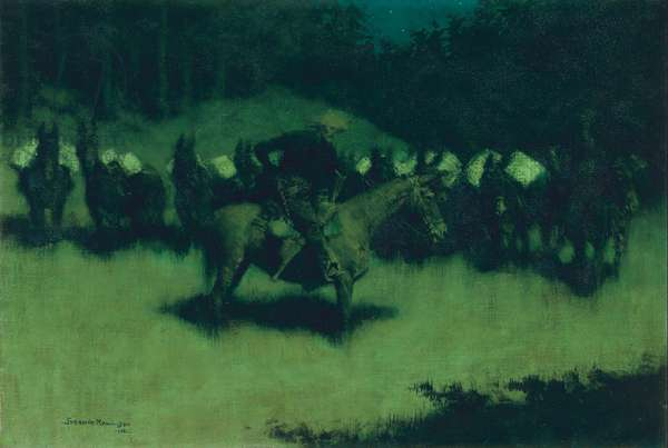 Scare in a Pack Train, 1908 (oil on canvas)