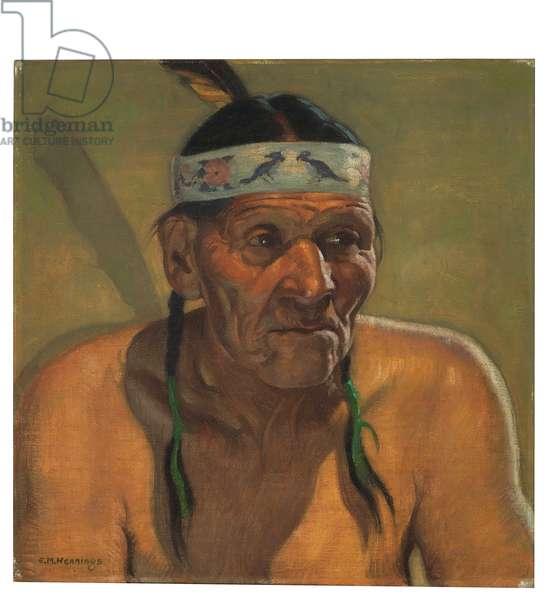 Indian Councilman (oil on canvasboard)