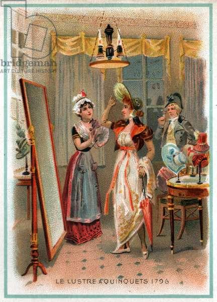 Quinquet chandelier. (litho, circa 1900)
