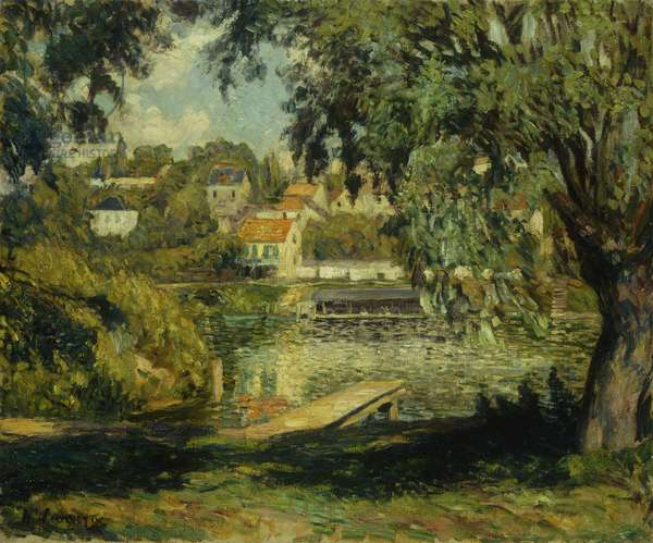 Village on the Banks of the River; Village au Bord de la Riviere, c.1900 (oil on canvas)