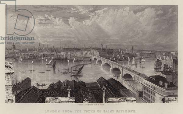 London from the Tower of Saint Saviour's (colour litho)