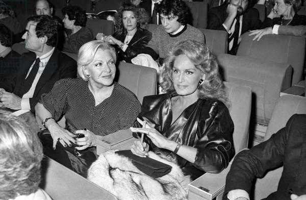 Line Renaud and Dalida at the Premiere of French Singer Gerard Lenorman,  Palais des Congres, Paris, 4 January 1984 (photo)