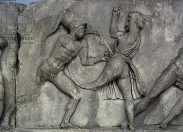 Mausoleum at Halicarnassus. Combat with the Amazons.