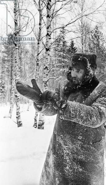 Fidel Castro In A Forest Near Moscow During The Winter