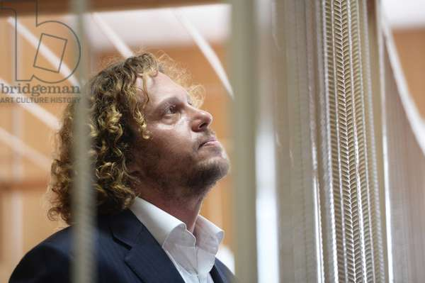 Businessman Sergei Polonsky at the Tverskoi District Court of Moscow hearing the investigators' motion on his arrest extention, 2015 (photo)