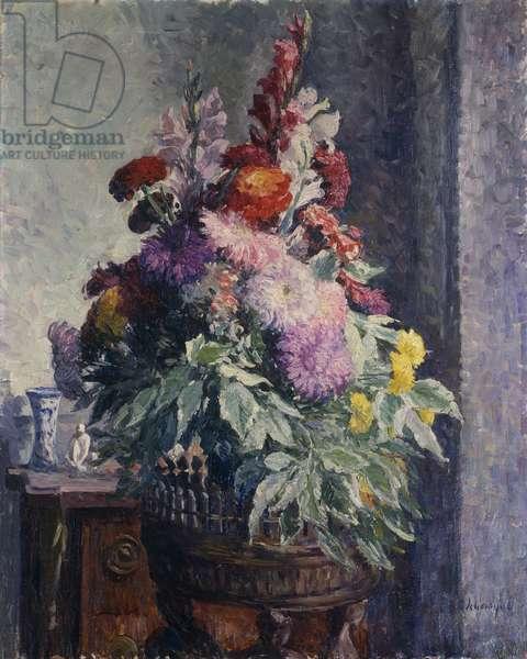 Interior with Bouquet of Flowers; Interieur au Bouquet de Fleurs, (oil on canvas)