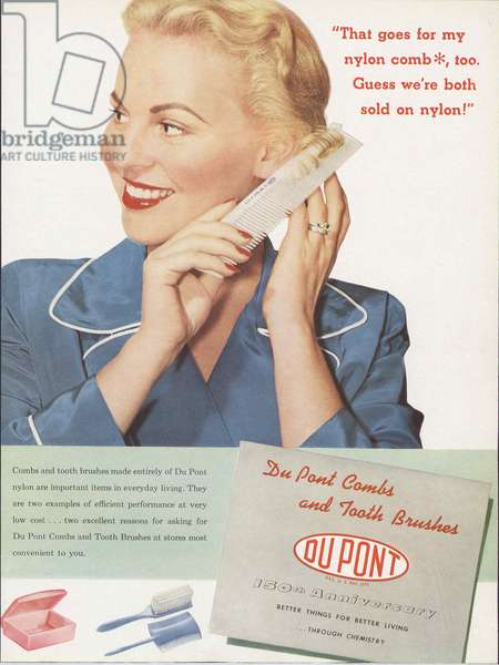 Advertisement for DuPont Nylon Combs and Toothbrushes, from the 'DuPont Magazine', August-September 1952 (colour litho)