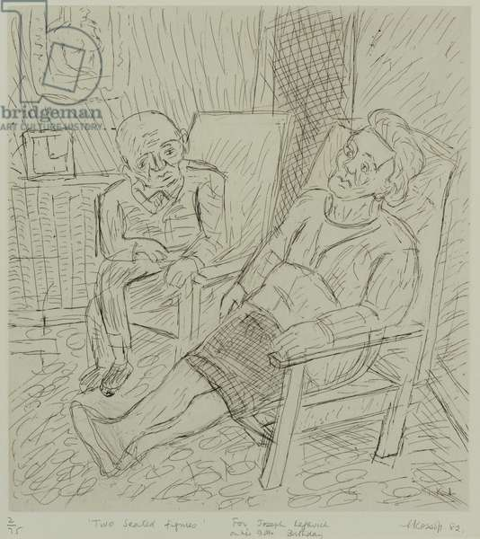 Two Seated Figures, 1982 (etching)
