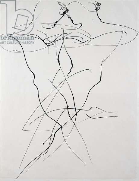 Two figures in opposing motion, dance, 1928, by Oskar Schlemmer (1888-1943). Germany, 20th century.