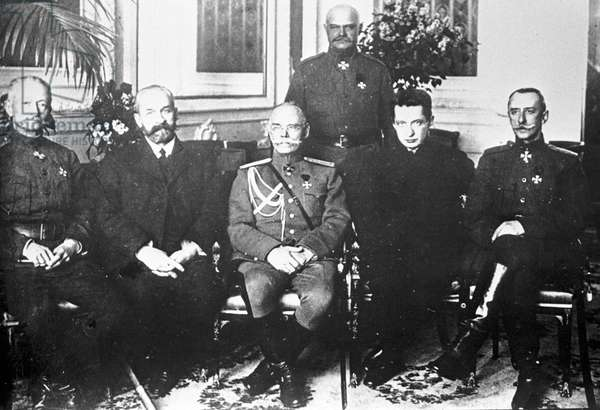Minister-chairman of the Provisional Government Prince G. Lvov (2nd left) and Minister of War Alexander Kerensky (2nd right) with a group of generals, 21st June, 1917 (b/w photo)