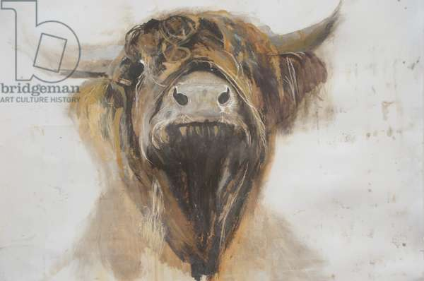 Holy Cow,2016,(oil on gesso on paper)