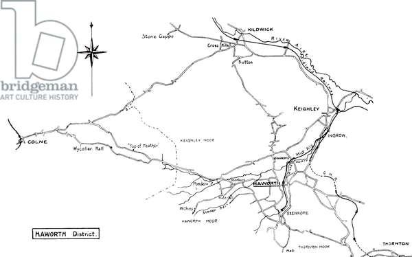 BRONTË: YORKSHIRE MAP Map of the Haworth district of Yorkshire, home of the Brontë family.