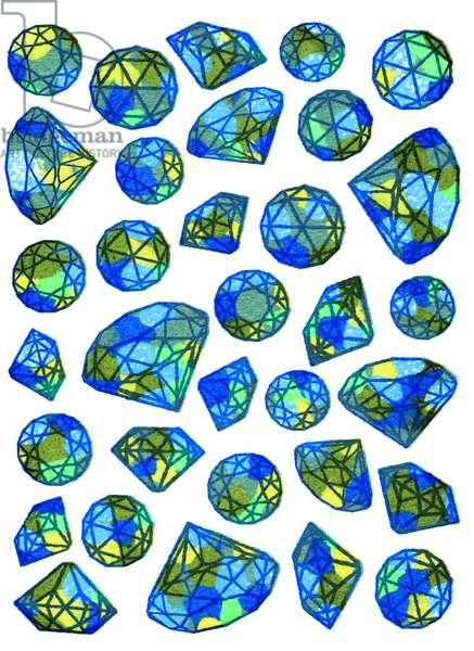 Diamonds-blue, 2016 (screen print)