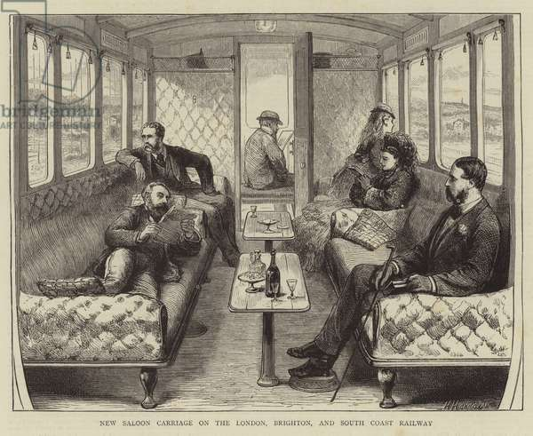 New Saloon Carriage on the London, Brighton, and South Coast Railway (engraving)