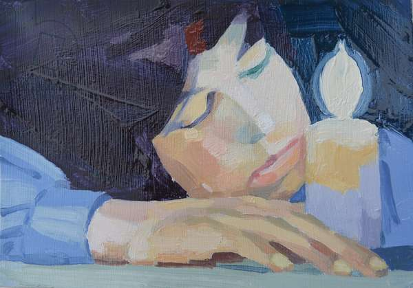 'Candlelight 2', 2015, (oil on card)