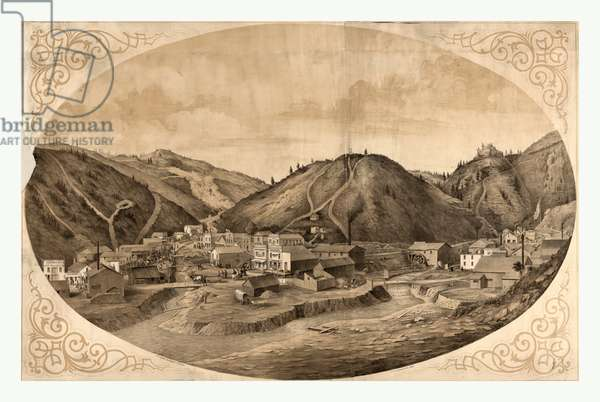 Bird's Eye View of Black Hawk Point, a Frontier Community in Colorado; Includes Remarque Showing a Native American, Circa 1862, US, USA, America