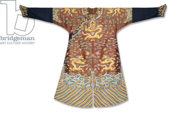 Imperial chestnut embroidered gauze dragon robe, Mangpao, Qianlong Period (1736-95) (textile)