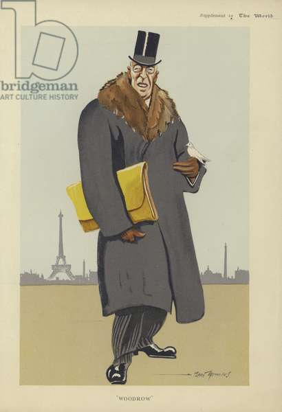 Caricature of Woodrow Wilson (colour litho)