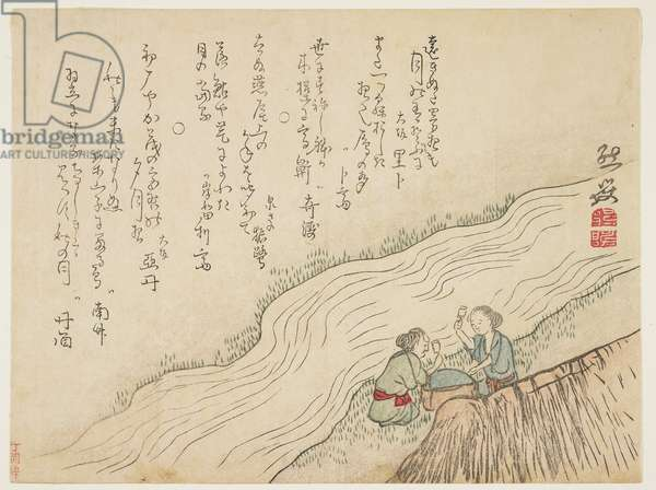 Two women pounding silk, c.1854-59 (colour woodblock print)