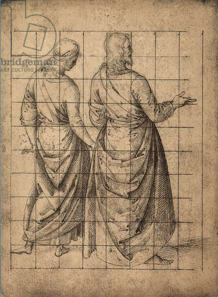 Male figures, rear view; drawing by Raphael. Gallerie dell'Accademia, Venice