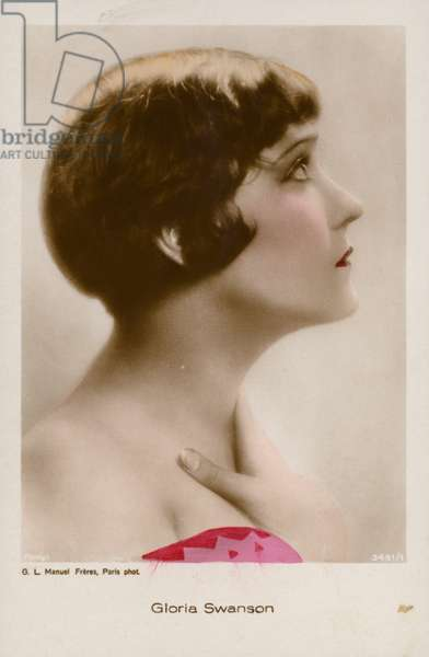 Gloria Swanson, American actress and film star (coloured photo)