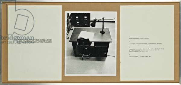 Performative / Narrative (the office), 1971 (b/w photo & paper)