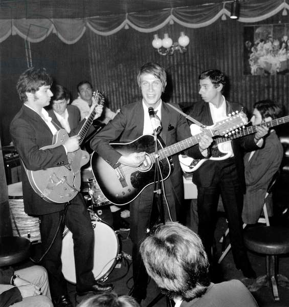 Jacques Dutronc on Stage For Election of Miss Twenty September 28, 1966 (b/w photo)