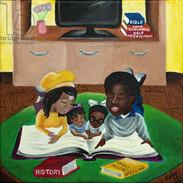 A Family that Reads Together, 2015, (acrylic on canvas)