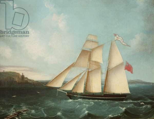Sailing mail schooner the 'Douglas' entering Douglas harbour, 1840 (oil on canvas)