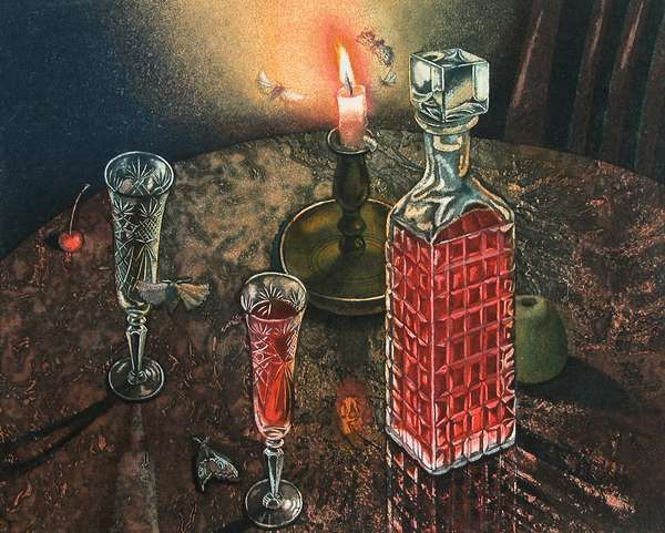 Still Life with Burning Candle, 2002 (etching)
