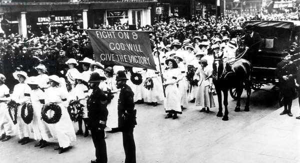 The funeral of Emily Wilding Davison (1872-1913), British woman's rights leader, June 14, 1913