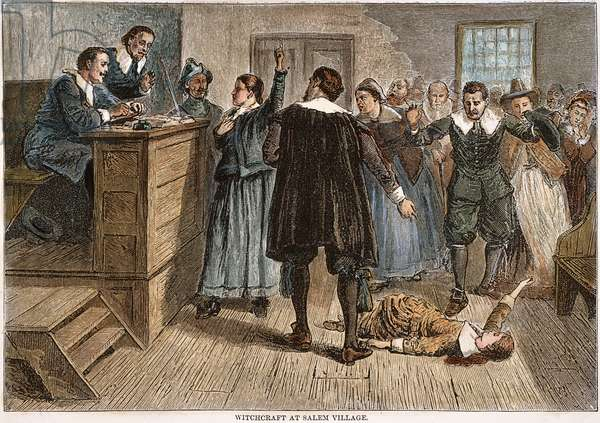 SALEM WITCH TRIALS, 1692 The trial of a 'witch' at Salem in 1692: American engraving, 19th century.