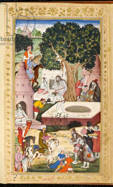 Babur visiting ascetics at Gur Kattri (1519). (Kesu Khurd).