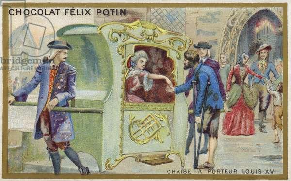 Sedan chair of the time of Louis XV (chromolitho)