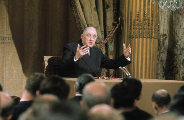 French President Charles De Gaulle, during Press Conference on October 28, 1967 (photo)