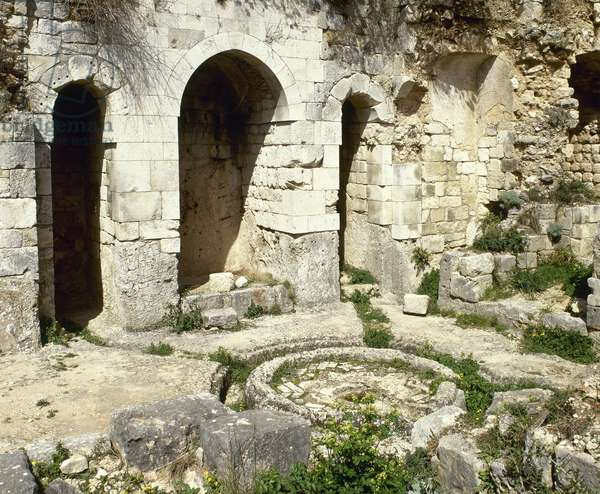 Syria. Citadel of Salah Ed-Din or Saladin Castle. Ruins of baths. Near Al-Haffah.